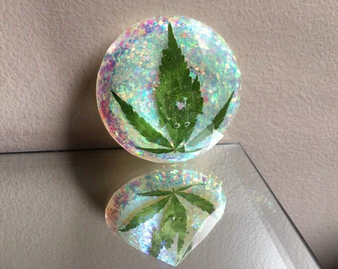 Weed Leaf & Angel Aura Glitter Large Diamond Crystal