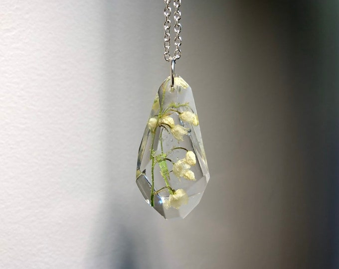 Lily of the Valley Gem Crystal Pendant Necklace - Long Silver Chain - Gift Box Included