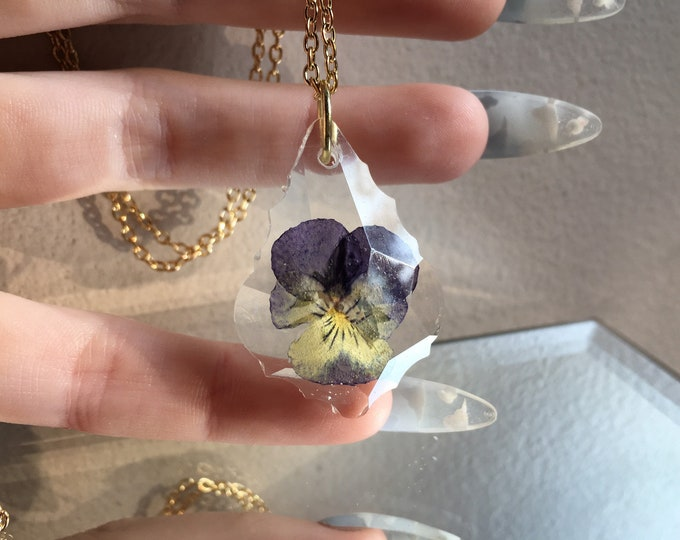 Pansy Flower Prism Crystal Pendant 3 - Long Gold Chain - Wooden Jewelry Box Included