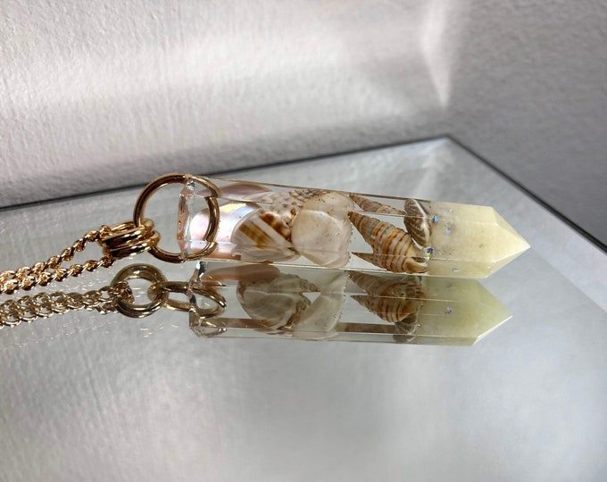 Shells and Sand Crystal Point Pendant Necklace - Long Gold Chain - Gift Box Included