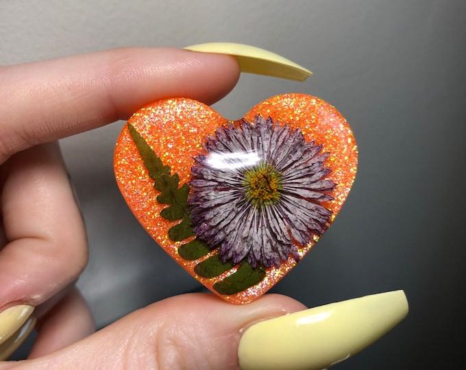 Fern Leaf and English Daisy Flower Heart