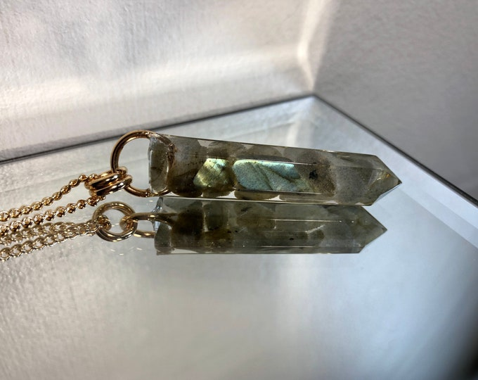 Labradorite Crystal Point Pendant Necklace - Gemstone Amulet - Long Gold Chain - Gift Box Included