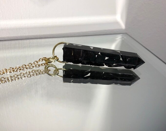 Shungite Crystal Point Pendant Necklace - Long Gold Chain - Wooden Jewelry Box Included