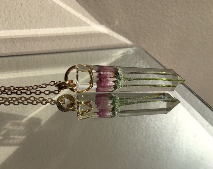 Pink English Daisy Crystal Point Pendant - Flower Amulet - Long Gold Chain - Wooden Jewelry Box Included