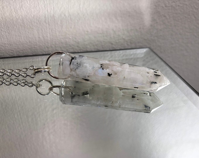 Rainbow Moonstone Crystal Point Pendant Necklace - Gemstone Amulet - Long Silver Chain - Gift Box Included