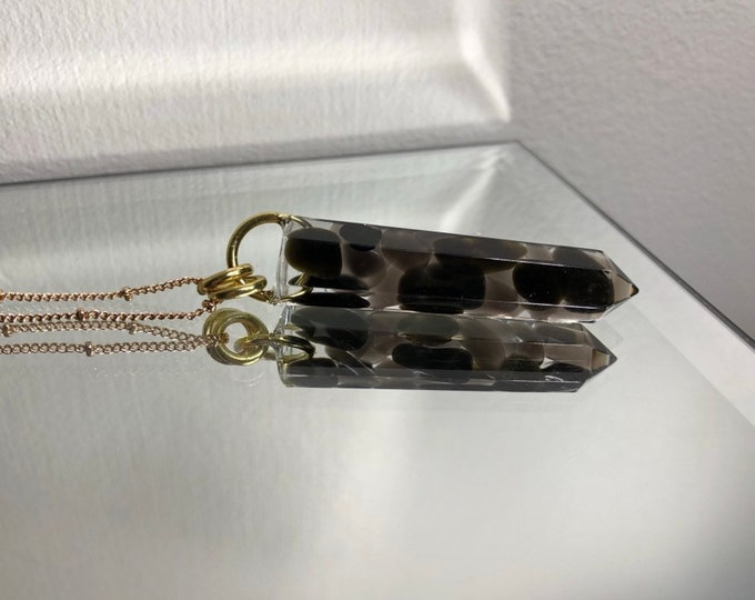 Smokey Quartz Crystal Point Pendant Necklace - Gemstone Amulet - Long Gold Chain - Wooden Jewelry Box Included