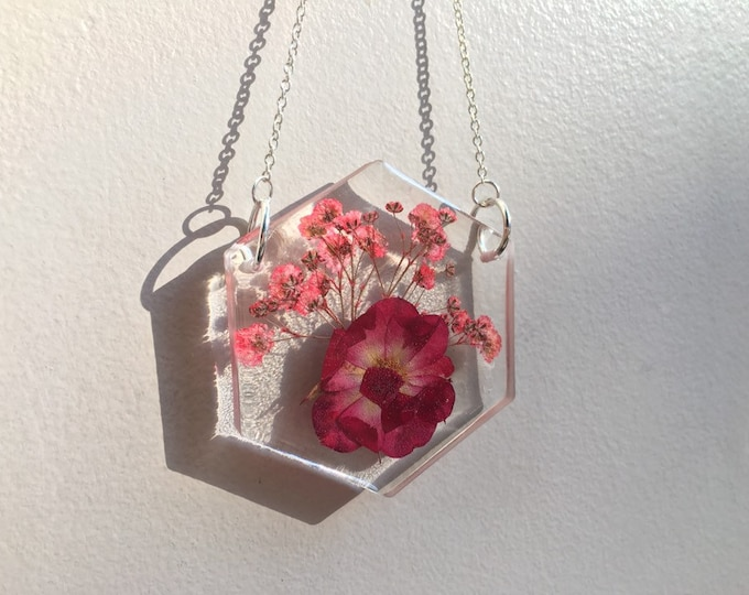 Red Rose & Pink Dyed Babys Breath Flower Hexagon Light Catcher - Silver Chain