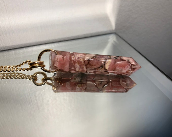 Rhodochrosite Crystal Point Pendant Necklace - Gemstone Amulet - Long Gold Chain - Gift Box Included