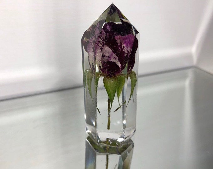 Red & Pink Striped Rose Crystal Tower 3