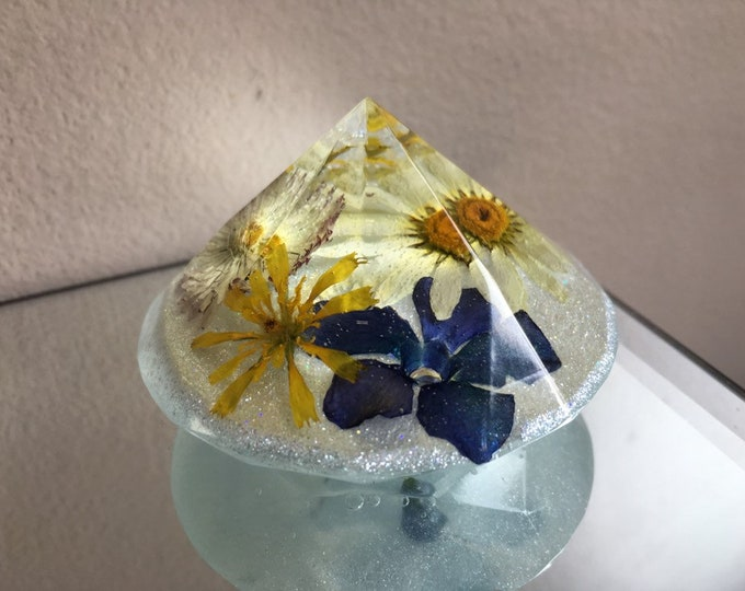 Wildflower Large Diamond Crystal - Glow in the Dark Blue Opal Dust Base