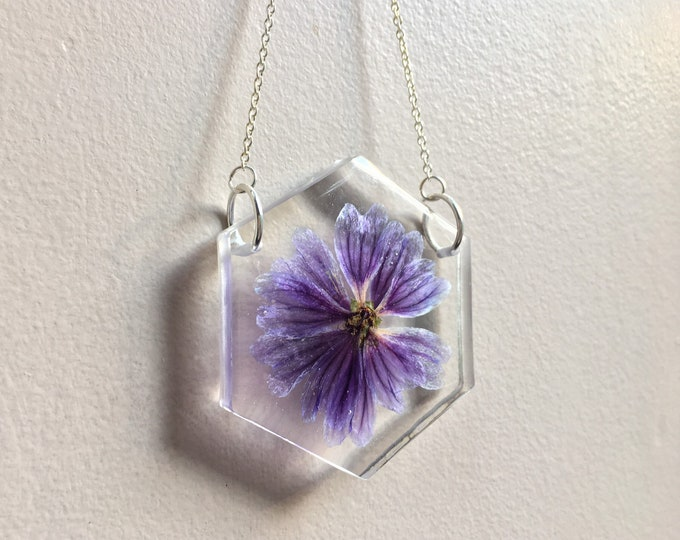 Purple Hollyhock Suncatcher - Silver Chain