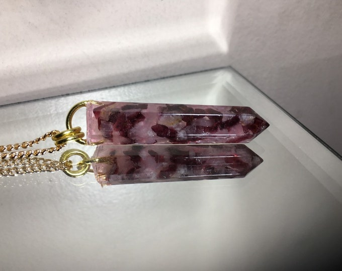 Gemstone Amulet - Garnet, Rose Quartz Crystal Point Pendent Necklace - Long Gold Chain - Wooden Jewelry Box Included