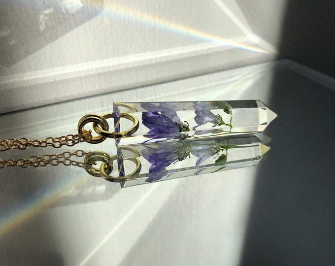Bell Flowers Crystal Point Pendant Necklace - Long Gold Chain - Wooden Jewelry Box Included