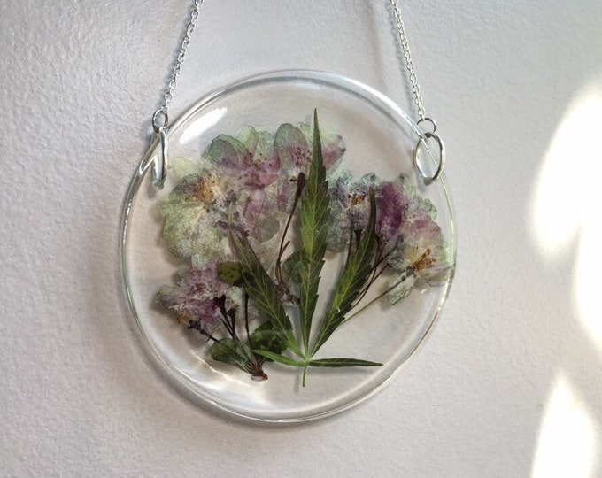 Weed Leaf and Apple Blossom Round Sun Catcher 2 - Silver Chain