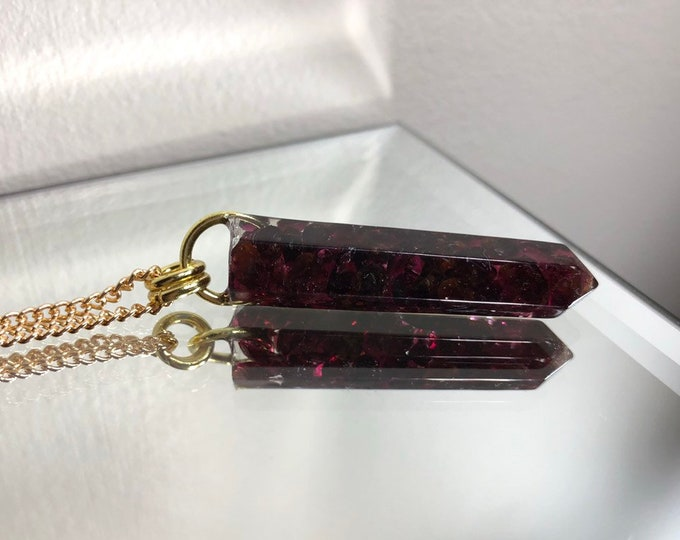 Garnet Crystal Point Pendant Necklace - Gemstone Amulet - Long Gold Chain - Gift Box Included