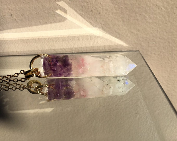 Amethyst, Rose Quartz & Rainbow Moonstone Crystal Point Pendant - Gemstone Amulet - Long Gold Chain - Wooden Jewelry Box Included