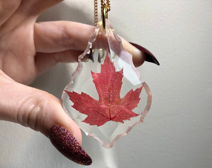 Red Maple Leaf Prism Crystal Light Catcher - Gold Chain