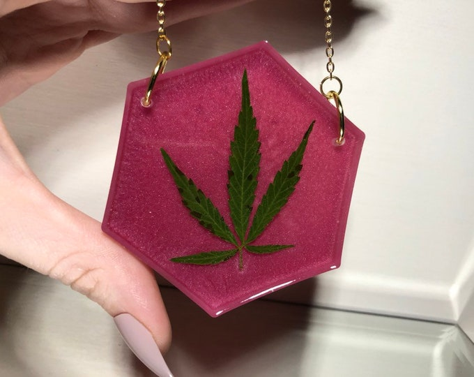 Weed Leaf Rose Pink Hexagon Light Catcher - Gold Chain