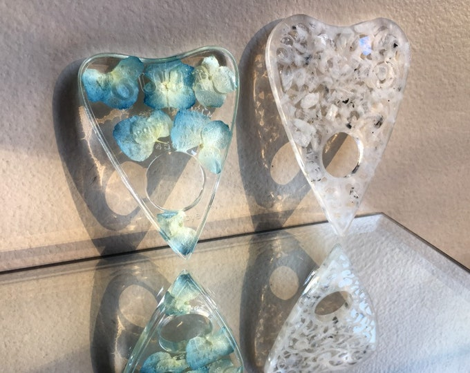 Set of Two Planchettes - Blue Hydrangea Flower and Rainbow Moonstone Gemstone Sun & Moon Planchette