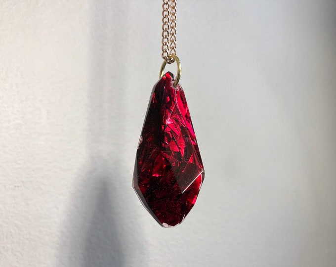 Ruby Aura Glitter Gem Crystal Pendant Necklace - Long Gold Chain - Gift Box Included
