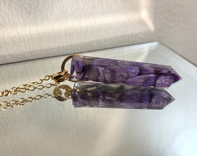 Charoite Crystal Point Pendant Necklace - Gemstone Amulet - Long Gold Chain - Gift Box Included