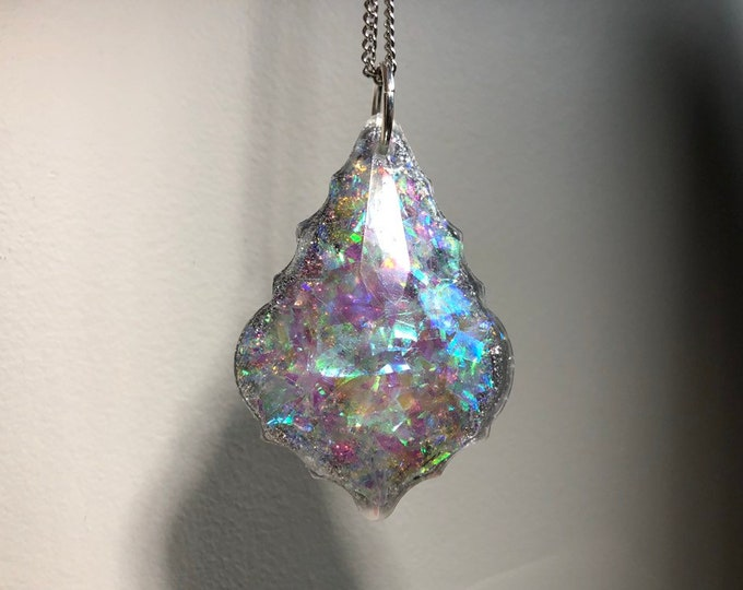 Angel Aura and Silver Glitter Prism Crystal Light Catcher - Silver Chain