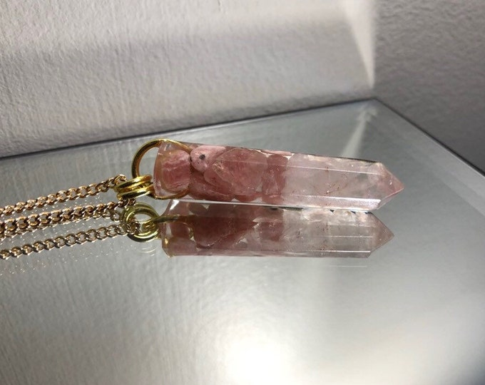 Rhodochrosite and Rose Quartz Crystal Point Pendant Necklace - Gemstone Amulet - Long Gold Chain - Gift Box Included