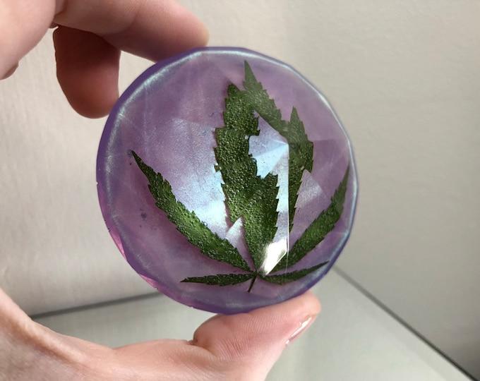Weed Leaf Pearlescent Purple Large Diamond Crystal