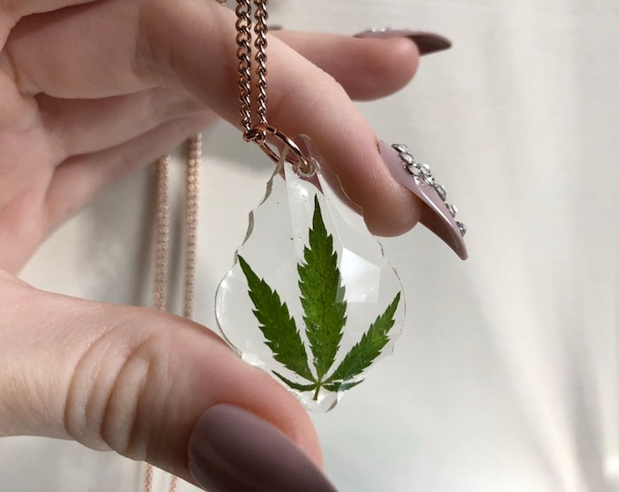 Weed Leaf Prism Crystal Pendant Necklace 2 - Long Rose Gold Chain - Wooden Jewelry Box Included