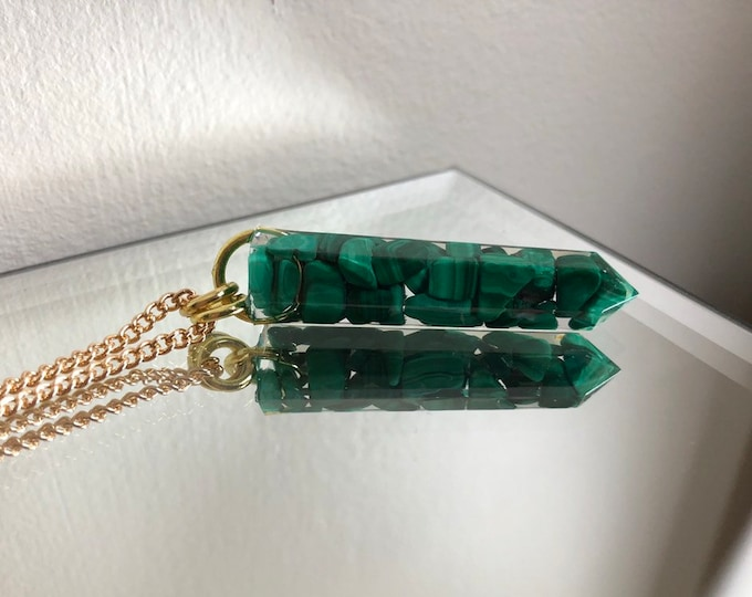 Malachite Crystal Point Pendant Necklace - Gemstone Amulet - Long Gold Chain - Wooden Jewelry Box Included