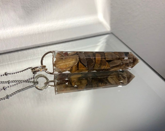 Petrified Wood Crystal Point Pendant Necklace - Gemstone Amulet - Long Silver Chain - Wooden Jewelry Box Included