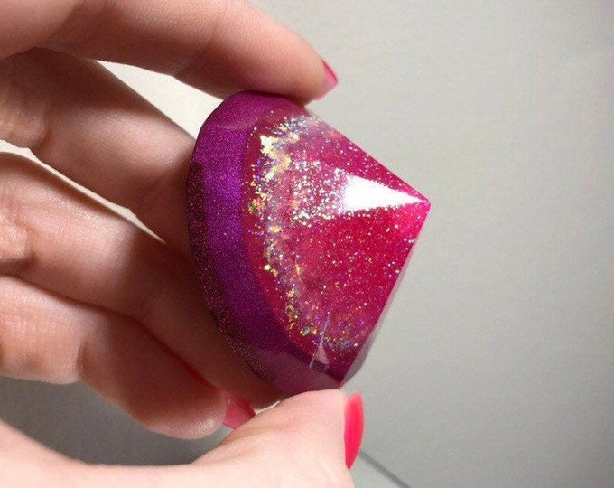 Pink Holographic Layered Glitter Diamond Crystal - Glow in the Dark