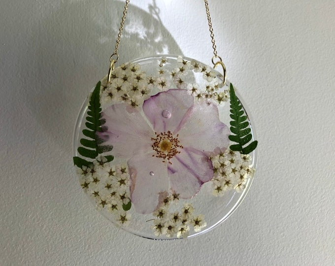 Wild Rose, Fern and Pyracantha Flower Round Sun Catcher - Gold Chain