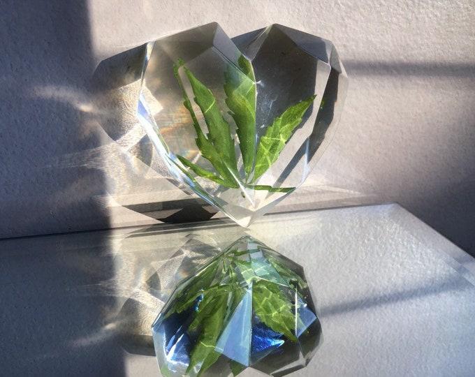 Weed Leaf Heart Prism Crystal 2