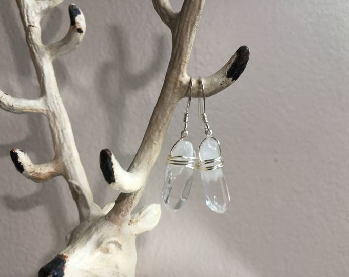 Clear Quartz Crystal Point Wire Wrapped Earrings - Sterling Silver Earring Clasp
