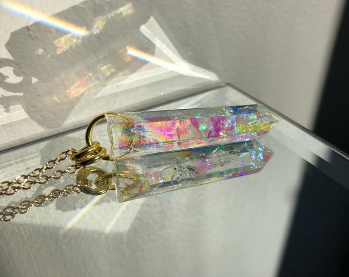 Angel Aura Glitter Crystal Point Pendant Necklace - Long Gold Chain - Wooden Jewelry Box Included