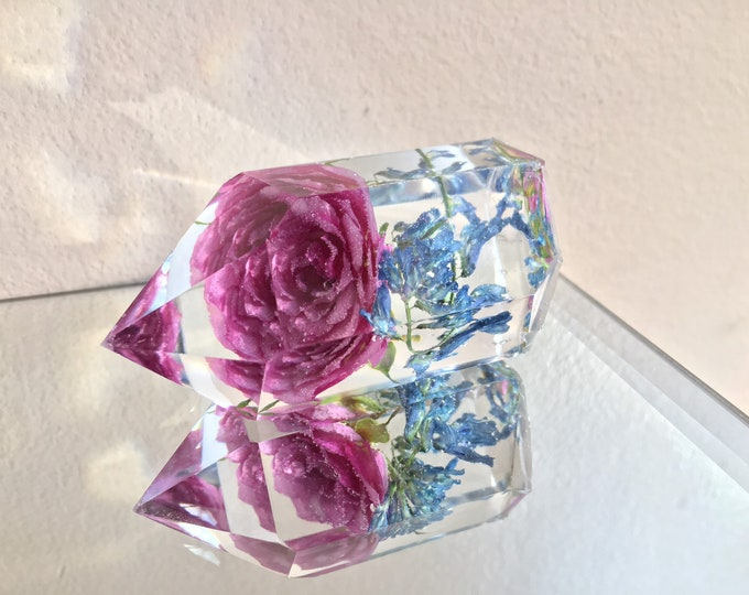 Pink Rose and Wild Vetch Blooms Crystal Tower