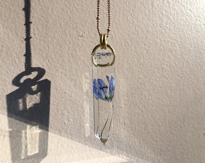 Siberian Squill Bloom Crystal Point Pendant - Flower Amulet - Long Gold Chain - Wooden Jewelry Box Included