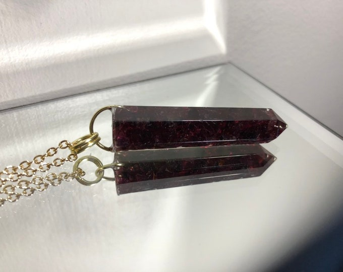 Garnet Crystal Point Pendant Necklace - Gemstone Amulet - Long Gold Chain - Wooden Jewelry Box Included