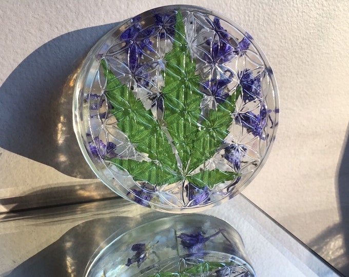 Weed Leaf, Larkspur Flower, Opalite and Rainbow Moonstone Gemstone Flower Of Life Crystal Stand and Grid