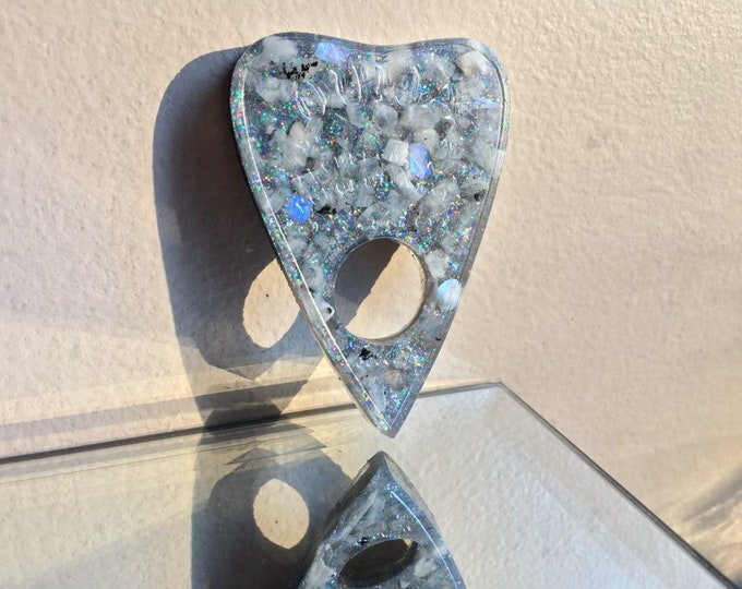 Rainbow Moonstone Gemstone and Glitter Planchette - Glows Blue in the Dark