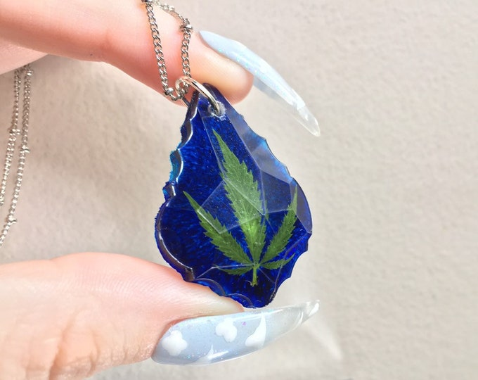 Weed Leaf & Cobalt Blue Prism Crystal Pendant - Long Silver Chain - Wooden Jewelry Box Included