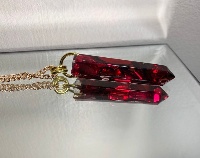 Ruby Aura Glitter Crystal Point Pendant Necklace - Long Gold Chain - Gift Box Included