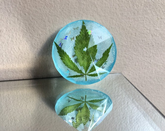 Weed Leaf & Blue Glow in the Dark Opal Dust with Butterflies Diamond Crystal