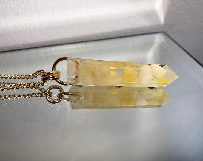 Yellow Calcite Crystal Point Pendant Necklace - Gemstone Amulet - Long Gold Chain - Gift Box Included
