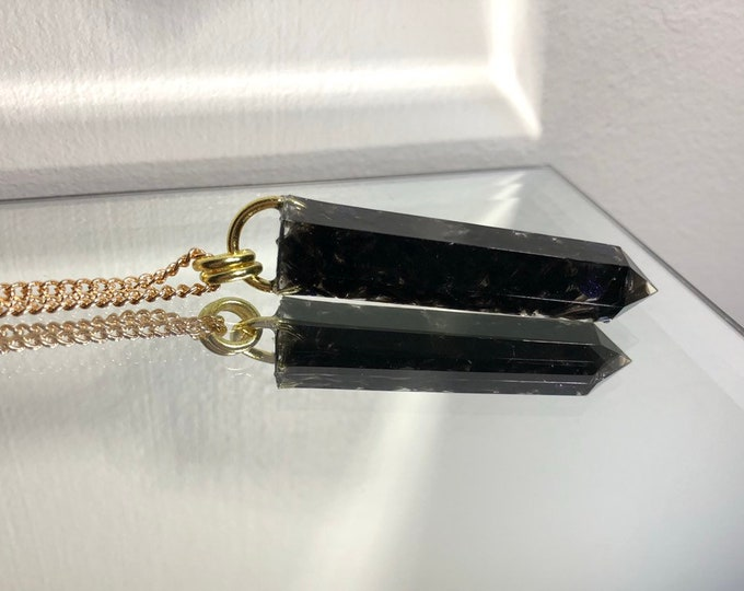 Black Agate Crystal Point Pendant Necklace - Gemstone Amulet - Long Gold Chain - Wooden Jewelry Box Included