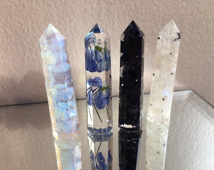 """Crystal Tower Set """"Sky"""" - Blue Goldstone, Opalite, Rainbow Moonstone and Blue Glory of the Snow Flower - Set of 4 Crystals"""