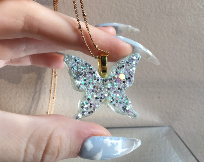 Butterfly Amulet 3 - Rainbow Moonstone and Glow in the Dark Opal Dust Glitter - Long Gold Chain