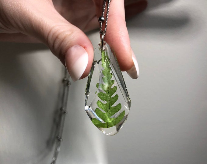 Fern Leaf Gem Crystal Pendant Necklace 1 - Long Silver Chain - Wooden Jewelry Box Included