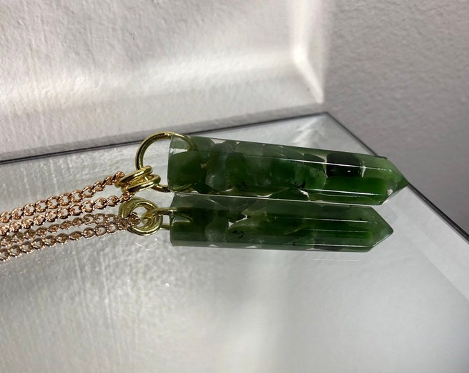 Nephrite Jade Crystal Point Pendant Necklace - Gemstone Amulet - Long Gold Chain - Gift Box Included